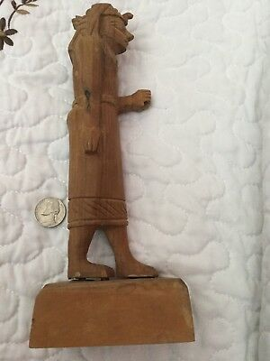 "RARE VINTAGE WOODEN STATUE OF ANCIENT EGYPTIAN KING WEARING A ""nemes""and ""Cobra"""