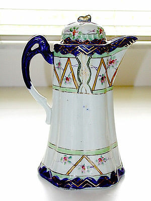 Beautiful Nippon Pre 1890 Japanese Cobalt Blue & Gold Hand Painted Chocolate Pot