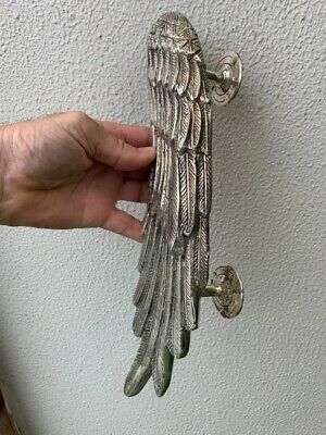 """used ANGEL WING 14"""" hollow SILVER plated over 100% real brass door pull handle 8"""