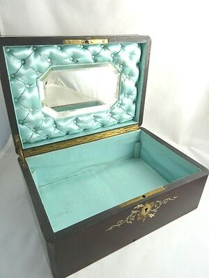 Antique French Wooden Dressing Box Mother Of Pearl Inlay Mirror Mahogany C1870 6