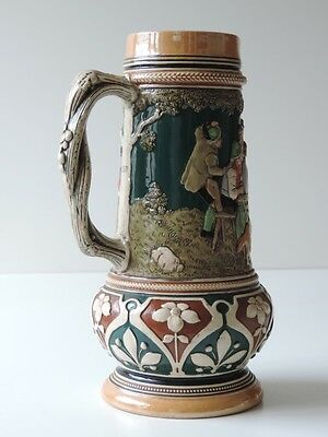 Alter Keramik Krug Bierkrug Kanne Bierkanne Um Ca. 1900 3