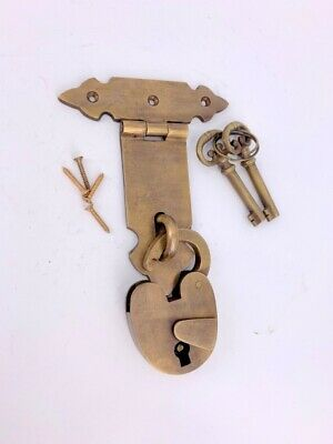"""2 BOX HANDLES latch PADLOC K brass chest old aged style patina 5"""" solid heavy 5"""