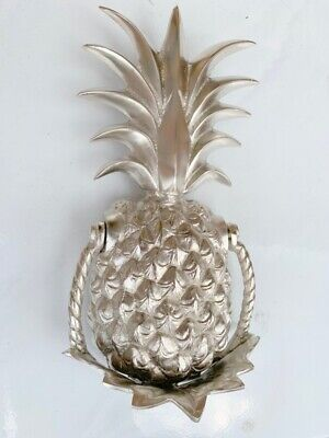 "PINEAPPLE front Door Knocker SILVER solid brass 10"" old style 25 cm very heavy B 3"