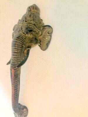 """Ganesha Elephant DOOR PULL HANDLE 13"""" antique green brass trunk door 32cm B 9"""