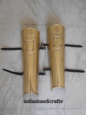 300 Movie Spartan Leg Guard Set Brass Antique Greaves Protective Replica 3