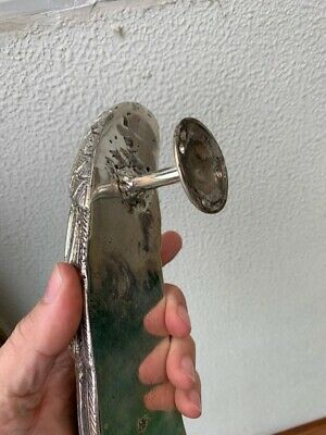 """used ANGEL WING 14"""" hollow SILVER plated over 100% real brass door pull handle 11"""