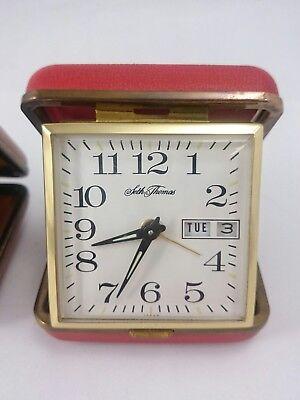 Vintage SETH THOMAS PHINNEY WALKER Light Alarm Portable Clasp Pocket Clock Pair 3