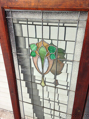 "Antique Chicago Stained Leaded Glass Cabinet Door / Window 48"" by 20"" 3"