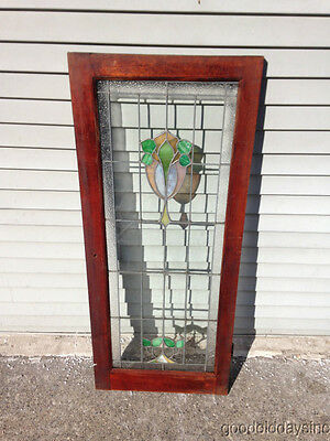 "Antique Chicago Stained Leaded Glass Cabinet Door / Window 48"" by 20"" 4"