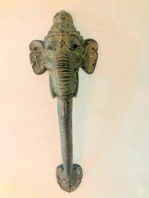 large handle Elephant DOOR PULL aged green 32cm solid BRASS trunk door hollow B 2