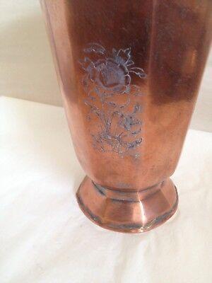 Persian Vintage Antique 8 Sided Copper Vase Etched Floral Rare 7