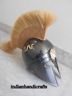 Greek King Spartan Corinthian  Black  Antique Finish Helmet W/drigon 2
