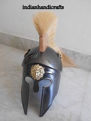 Greek King Spartan Corinthian  Black  Antique Finish Helmet W/drigon  Replica 3