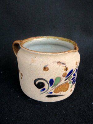 Netzi Mexican Tonala Art Pottery Creamer Hand Painted Sandstone Enameled 2