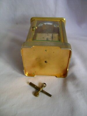 ANTIQUE c1880 FRANCOIS ARSENE MARGAINE TIMEPIECE CARRIAGE CLOCK + KEY IN GWO 10