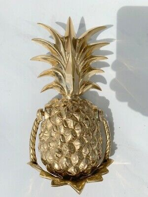 "PINEAPPLE heavy front Door Knocker SOLID BRASS vintage old POLISHED 10"" B 2"