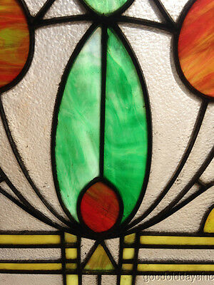 "Antique Prairie Style Stained Glass Window 27"" by 20"""