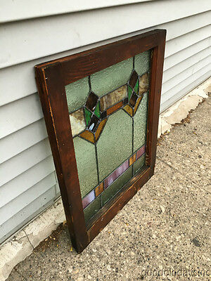 "Antique 1920s Chicago Bungalow Stained Leaded Glass Window 24 3/4"" by 20"" 6"