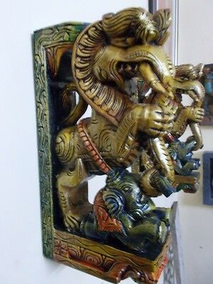 Wooden Bracket Hindu Temple Corbel Yalli Pair Dragon Statue Figure Wall Plaque 3
