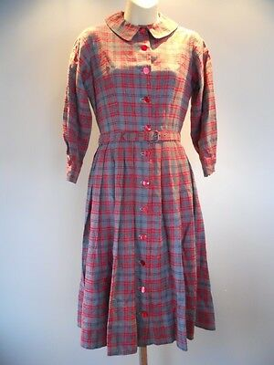 43948a4235fe6 ... Nos Vintage 50s Red Plaid Belted Shirt Pleated Peter Pan Collar Dress  Rockabilly 4