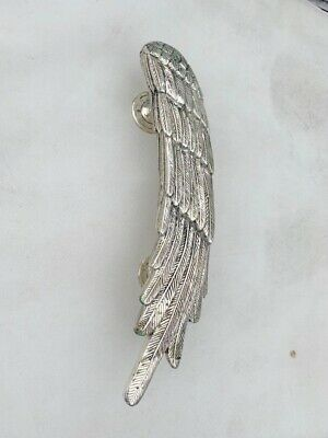 """used ANGEL WING 14"""" hollow SILVER plated over 100% real brass door pull handle 4"""