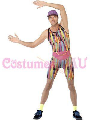 Mens Mr Energizer 80s 90s Costume Retro Tv Fitness Instructor