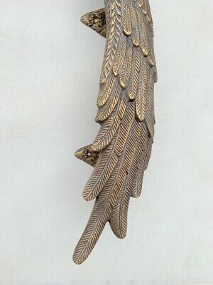 2 ANGEL cast heavy WINGS hollow soild brass door pull old style natural aged 3