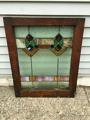 "Antique 1920s Chicago Bungalow Stained Leaded Glass Window 24 3/4"" by 20"" 5"