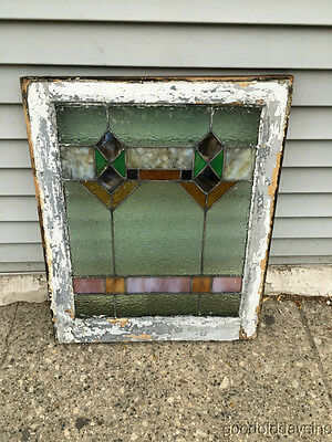 "Antique 1920s Chicago Bungalow Stained Leaded Glass Window 24 3/4"" by 20"" 7"