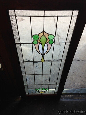 "Antique Chicago Stained Leaded Glass Cabinet Door / Window 48"" by 20"" 6"
