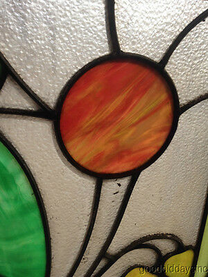 """Antique Prairie Style Stained Glass Window 27"""" by 20"""" 4"""