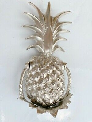 "PINEAPPLE front Door Knocker SILVER solid brass 10"" old style 25 cm very heavy B 2"
