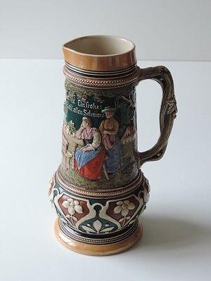 Alter Keramik Krug Bierkrug Kanne Bierkanne Um Ca. 1900 2