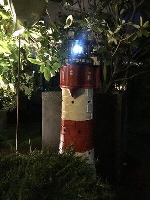 XL Gartendekoration Solar-Leuchtturm ROTER SAND+LED-Beleuchtung Solarbeleuchtung 2