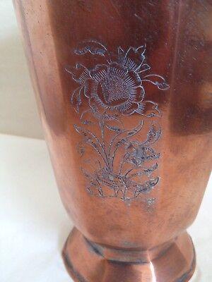Persian Vintage Antique 8 Sided Copper Vase Etched Floral Rare 4