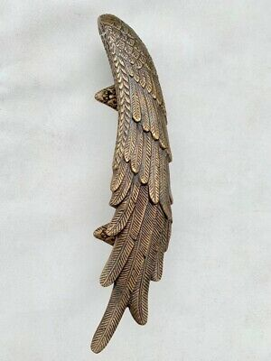 2 ANGEL cast heavy WINGS hollow soild brass door pull old style natural aged 9