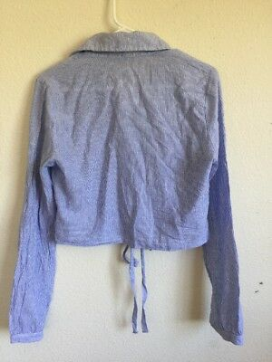 Brandy Melville white//blue striped collared button up tie front lenny top NWT