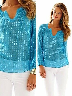 0842d266366 ... 168.00 Nwt Lilly Pulitzer Colby Top Xs Ariel Blue Crinkle Metallic Clip  Silk 7