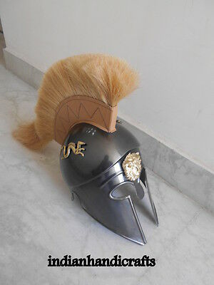 Greek King Spartan Corinthian  Black  Antique Finish Helmet W/drigon  Replica 5