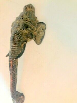large handle Elephant DOOR PULL aged green 32cm solid BRASS trunk door hollow B 8