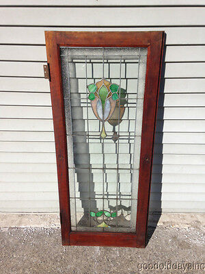 "Antique Chicago Stained Leaded Glass Cabinet Door / Window 48"" by 20"" 2"