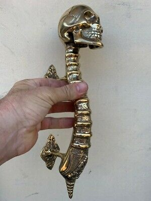 "large SKULL handle DOOR PULL spine 13"" POLISHED BRASS old vintage style 33 cm B 11"