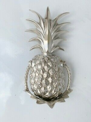 "PINEAPPLE front Door Knocker SILVER solid brass 10"" old style 25 cm very heavy B 7"