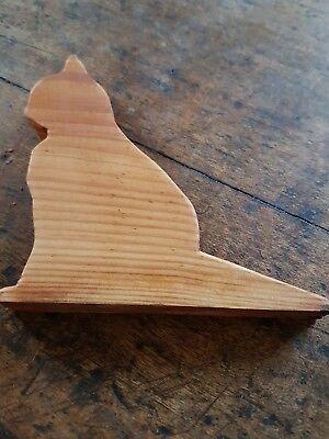Victorian pine over 100 years old -- door stop / wedge  --  carved cat