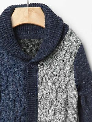 Gap Baby Boy Size 3 6 Months Blue Gray Shawl Cable Knit One Piece