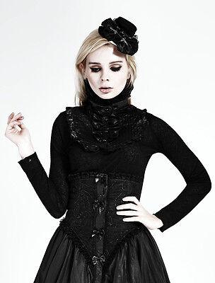 Top haut gothique lolita victorien steampunk jabot camée broderies Punkrave Noir 3