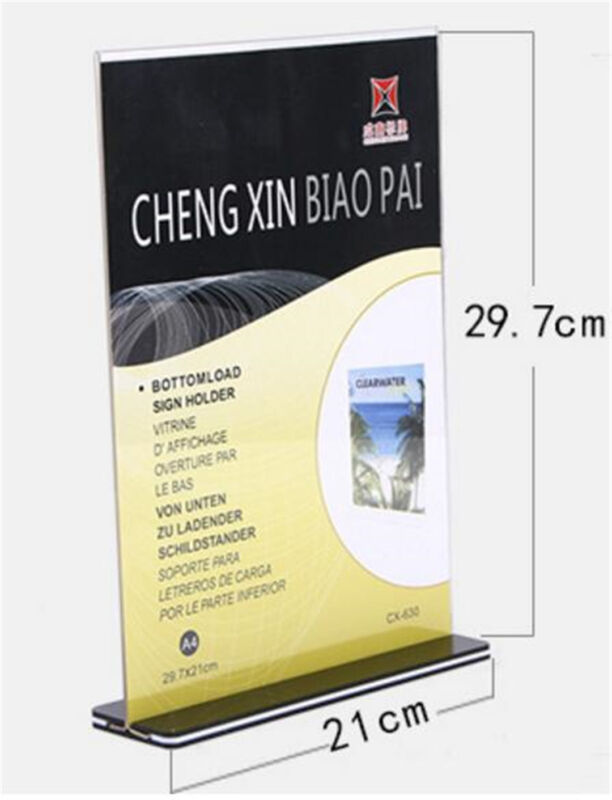 10pcs DL A4 Double Sided Sign Holder Acrylic Retail Display Stands Menu Holder 2