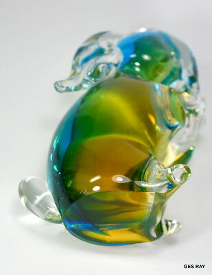 Vintage Murano Sommerso Art Glass Bunny Rabbit Figurine Sculpture 6