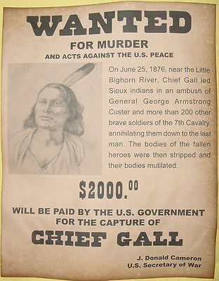 Set  of 5 Indian Wanted Posters Geronimo Cochise Crazy Horse Gall Sitting Bull 4
