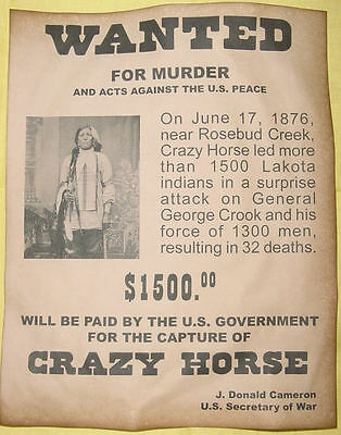 Set  of 5 Indian Wanted Posters Geronimo Cochise Crazy Horse Gall Sitting Bull 3